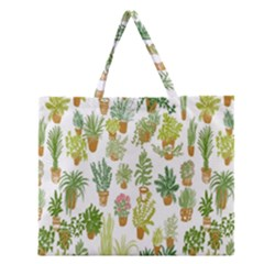 Flowers Pattern Zipper Large Tote Bag by Simbadda