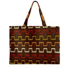 Fabric Texture Vintage Retro 70s Zig Zag Pattern Zipper Mini Tote Bag by Simbadda