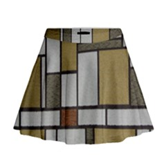 Fabric Textures Fabric Texture Vintage Blocks Rectangle Pattern Mini Flare Skirt by Simbadda