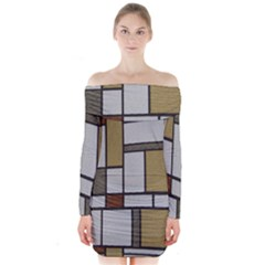 Fabric Textures Fabric Texture Vintage Blocks Rectangle Pattern Long Sleeve Off Shoulder Dress by Simbadda