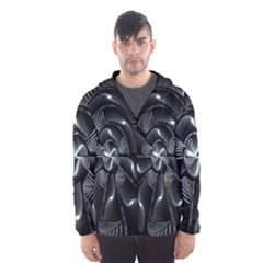 Fractal Disk Texture Black White Spiral Circle Abstract Tech Technologic Hooded Wind Breaker (men) by Simbadda
