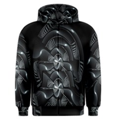 Fractal Disk Texture Black White Spiral Circle Abstract Tech Technologic Men s Zipper Hoodie