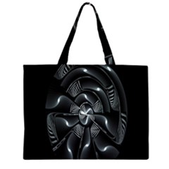Fractal Disk Texture Black White Spiral Circle Abstract Tech Technologic Zipper Large Tote Bag by Simbadda