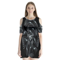 Fractal Disk Texture Black White Spiral Circle Abstract Tech Technologic Shoulder Cutout Velvet  One Piece