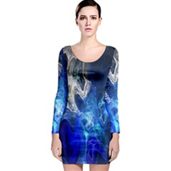 Ghost Fractal Texture Skull Ghostly White Blue Light Abstract Long Sleeve Bodycon Dress