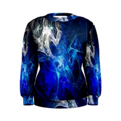 Ghost Fractal Texture Skull Ghostly White Blue Light Abstract Women s Sweatshirt