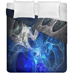 Ghost Fractal Texture Skull Ghostly White Blue Light Abstract Duvet Cover Double Side (california King Size)