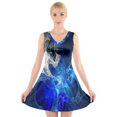 Ghost Fractal Texture Skull Ghostly White Blue Light Abstract V Neck Sleeveless Skater Dress by Simbadda