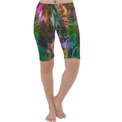 Fractal Texture Abstract Messy Light Color Swirl Bright Cropped Leggings  by Simbadda