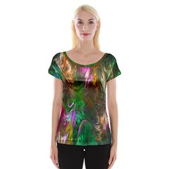 Fractal Texture Abstract Messy Light Color Swirl Bright Women s Cap Sleeve Top by Simbadda
