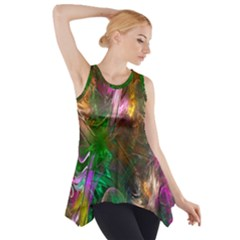 Fractal Texture Abstract Messy Light Color Swirl Bright Side Drop Tank Tunic by Simbadda