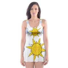 Sunshine Tech White Skater Dress Swimsuit by Simbadda