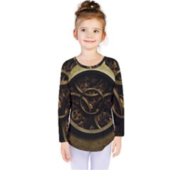 Abstract Steampunk Textures Golden Kids  Long Sleeve Tee by Onesevenart