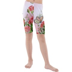 Flora Butterfly Roses Kids  Mid Length Swim Shorts by Onesevenart