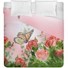 Flora Butterfly Roses Duvet Cover Double Side (king Size) by Onesevenart