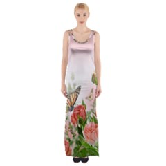 Flora Butterfly Roses Maxi Thigh Split Dress by Onesevenart