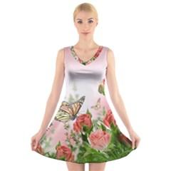 Flora Butterfly Roses V Neck Sleeveless Skater Dress by Onesevenart