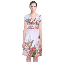 Flora Butterfly Roses Short Sleeve Front Wrap Dress by Onesevenart