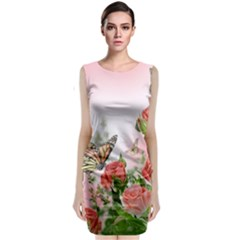 Flora Butterfly Roses Sleeveless Velvet Midi Dress by Onesevenart