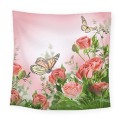Flora Butterfly Roses Square Tapestry (large) by Onesevenart