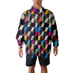 Abstract Multicolor Cubes 3d Quilt Fabric Wind Breaker (kids) by Onesevenart