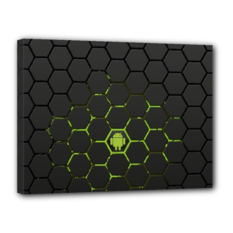Green Android Honeycomb Gree Canvas 16  X 12  by Onesevenart