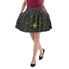 Green Android Honeycomb Gree A Line Pocket Skirt by Onesevenart