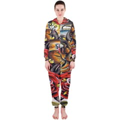 Flower Art Traditional Hooded Jumpsuit (ladies)