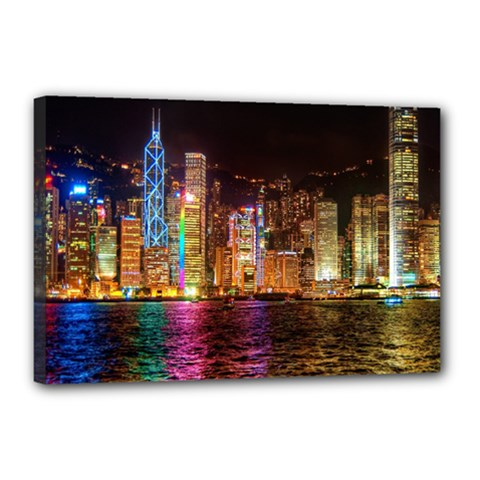 Light Water Cityscapes Night Multicolor Hong Kong Nightlights Canvas 18  X 12  by Onesevenart