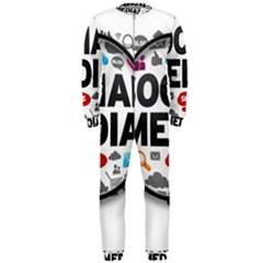 Social Media Computer Internet Typography Text Poster Onepiece Jumpsuit (men)  by Onesevenart