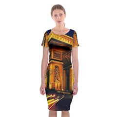 Paris Cityscapes Lights Multicolor France Classic Short Sleeve Midi Dress by Onesevenart