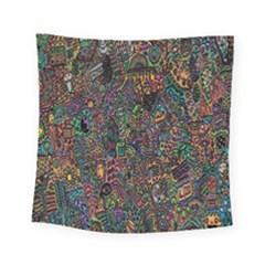 Trees Internet Multicolor Psychedelic Reddit Detailed Colors Square Tapestry (small) by Onesevenart