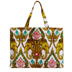 Traditional Thai Style Painting Zipper Mini Tote Bag by Onesevenart