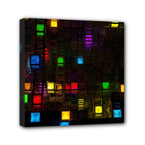 Abstract 3d Cg Digital Art Colors Cubes Square Shapes Pattern Dark Mini Canvas 6  X 6  by Onesevenart