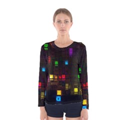 Abstract 3d Cg Digital Art Colors Cubes Square Shapes Pattern Dark Women s Long Sleeve Tee by Onesevenart