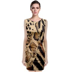 Animal Fabric Patterns Sleeveless Velvet Midi Dress by Onesevenart