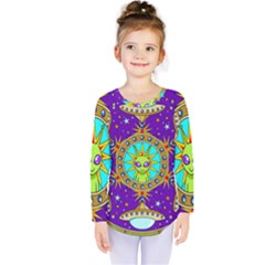 Alien Mandala Kids  Long Sleeve Tee by Onesevenart