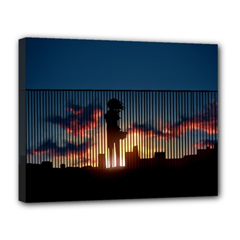 Art Sunset Anime Afternoon Canvas 14  X 11  by Onesevenart