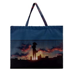 Art Sunset Anime Afternoon Zipper Large Tote Bag by Onesevenart