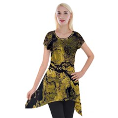Colorful The Beautiful Of Traditional Art Indonesian Batik Pattern Short Sleeve Side Drop Tunic by Onesevenart