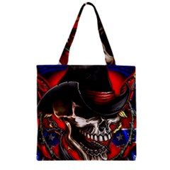 Confederate Flag Usa America United States Csa Civil War Rebel Dixie Military Poster Skull Zipper Grocery Tote Bag by Onesevenart