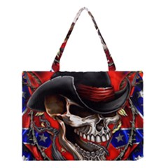 Confederate Flag Usa America United States Csa Civil War Rebel Dixie Military Poster Skull Medium Tote Bag by Onesevenart