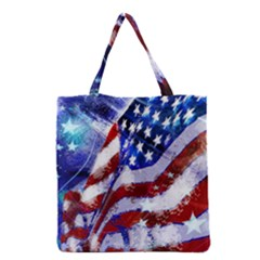 Flag Usa United States Of America Images Independence Day Grocery Tote Bag by Onesevenart