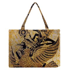 Golden Colorful The Beautiful Of Art Indonesian Batik Pattern Medium Zipper Tote Bag by Onesevenart