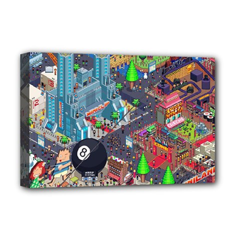 Pixel Art City Deluxe Canvas 18  X 12   by Onesevenart