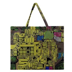 Technology Circuit Board Zipper Large Tote Bag by Onesevenart