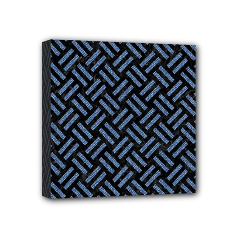 Woven2 Black Marble & Blue Denim Mini Canvas 4  X 4  (stretched) by trendistuff