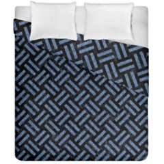 Woven2 Black Marble & Blue Denim Duvet Cover Double Side (california King Size) by trendistuff