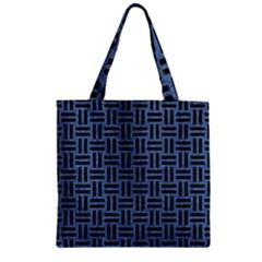 Woven1 Black Marble & Blue Denim (r) Zipper Grocery Tote Bag by trendistuff