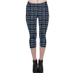 Woven1 Black Marble & Blue Denim Capri Leggings  by trendistuff